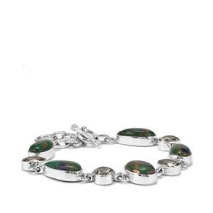 Mojave Azurite Bracelet with Prasiolite in Sterling Silver 32cts