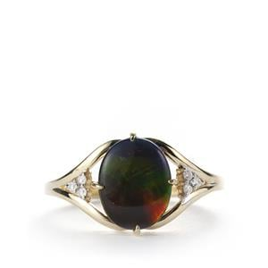 AA Ammolite (10x8mm) Ring with White Zircon in 9K Gold