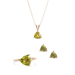 8.32ct Changbai Peridot 9K Gold Set of Ring, Earrings, Pendant and Chain