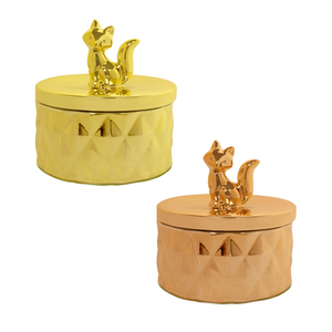 Fox World Wildlife Ceramic Trinket Box