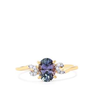 Bi Color Tanzanite Ring with Diamond in 10k Gold 1.08cts