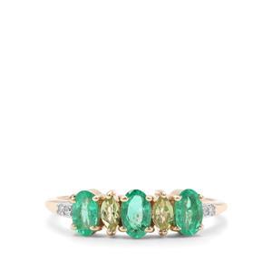 Colombian Emerald, Peridot Ring with Diamond in 9K Gold 0.92ct