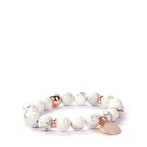 White Howlite Elastic Bracelet in Rose Tone Sterling Silver 135cts
