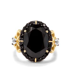 Black Spinel & White Topaz Midas Ring ATGW 11.08cts