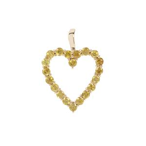 1.12ct Ambilobe Sphene 9K Gold Heart Design Pendant