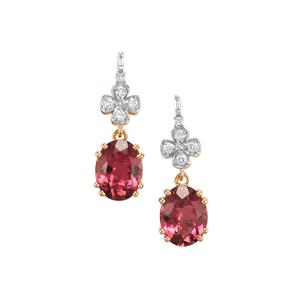 Congo Pink Rubellite Earrings with Diamond in 18K Gold 3.89cts