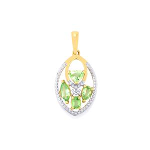 Paraiba Tourmaline Pendant with Diamond in 10k Gold 1.15cts
