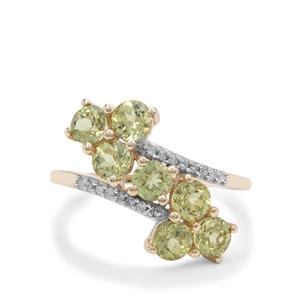 Mansanite™ Ring with Diamond in 9K Gold 2.20cts