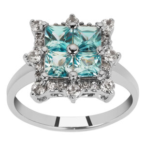 Ratanakiri Blue Zircon Ring with White Zircon in Sterling Silver 2.49cts