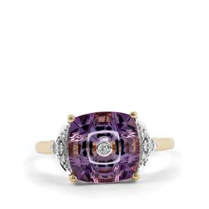 Lehrer TorusRing Ametista Amethyst Ring with Diamond in 10K Gold 2.95cts