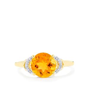 Diamantina Citrine Ring with Diamond in 9K Gold 1.80cts