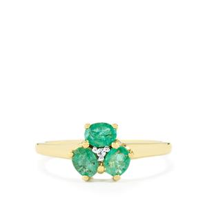 Zambian Emerald Ring with White Zircon in 10k Gold 0.58ct