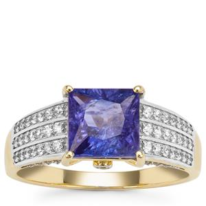 Tanzanite Ring with White Zircon in 9K Gold 2.44cts