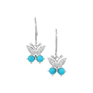 Sleeping Beauty Turquoise Earrings with White Topaz in Sterling Silver 1.34cts