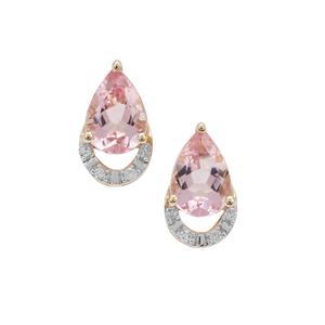 Cherry Blossom™ Morganite & Diamond 9K Gold Earrings ATGW  1.20cts
