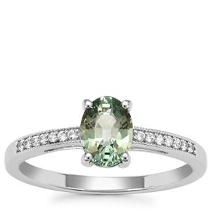 Green Sapphire Ring with White Zircon in 9K White Gold 1.15cts