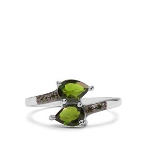 Chrome Diopside & Green Diamond Sterling Silver Ring ATGW 1.46cts