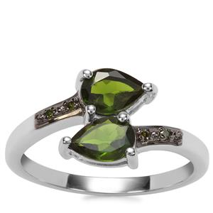 Chrome Diopside Ring with Green Diamond in Sterling Silver 1.46cts