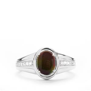 Ammolite Ring with White Zircon in Sterling Silver (9 x 7mm)