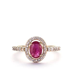 1.41cts Montepuez Ruby & White Zircon 9K Gold Ring