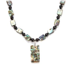 Black Agate, Paua Necklace with White Shell in Sterling Silver