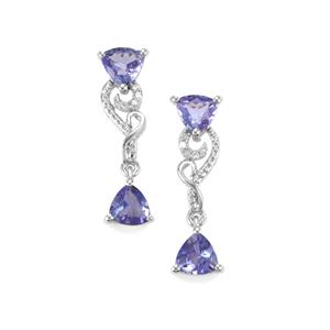 AA Tanzanite Earrings with Diamond in 10K White Gold 1.89cts