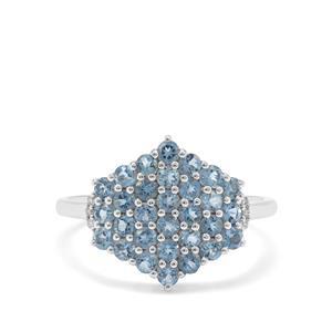 Nigerian Aquamarine & Diamond 9K White Gold Ring ATGW 1.05cts