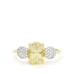 Serenite Ring with White Zircon in 9K Gold 2.09cts