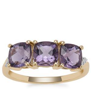 Montezuma Blue Quartz Ring with Diamond in 9K Gold 2.65cts