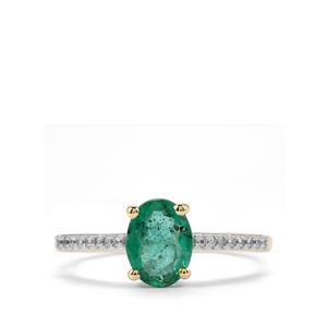 Minas Gerais Emerald Ring with White Zircon in 9K Gold 1.06cts