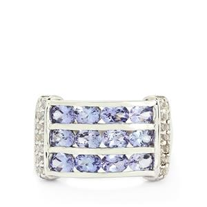 AA Tanzanite & White Topaz Sterling Silver Ring ATGW 2.26cts