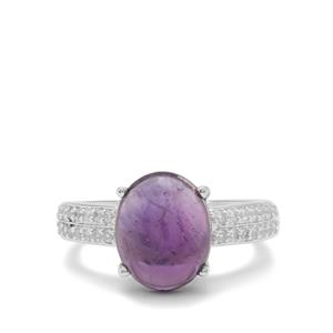 Ametista Amethyst Ring with White Zircon in Sterling Silver 4.45cts