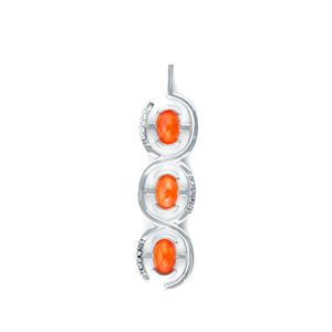 0.95ct Ethiopian Orange Opal Sterling Silver Pendant