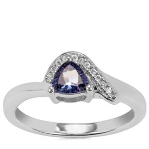 Bi Colour Tanzanite Ring with White Topaz in Sterling Silver 0.56ct