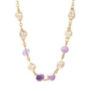 Baroque Cultured Pearl Necklace with Amethyst in Gold Tone Sterling Silver