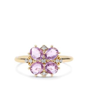 Rose Cut Natural Purple Sapphire & Diamond 9K Gold Ring ATGW 1.27cts