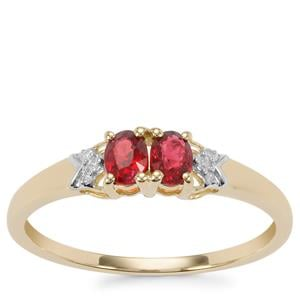 Burmese Red Spinel Ring with Diamond in 10K Gold 0.44cts
