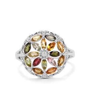 Tutti-Fruiti Tourmaline & White Zircon Sterling Silver Ring ATGW 1.43cts