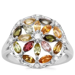 Tutti-Fruiti Tourmaline Ring with White Zircon in Sterling Silver 1.43cts