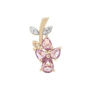 Rose Cut Natural Purple Sapphire & Diamond 9K Gold Pendant ATGW 0.68ct