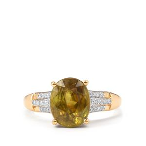 Ambilobe Sphene Ring with Diamond in 18k Gold 3.70cts