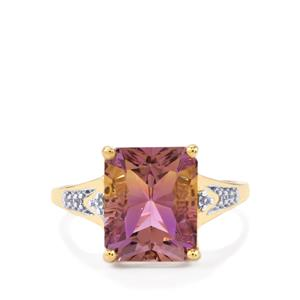 Anahi Ametrine Ring with White Zircon in 10k Gold 4.25cts