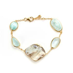 Aquamarine, Larimar Sarah Bennett Bracelet with Australian Opal in 14K Gold Tone Sterling Silver 48.15cts