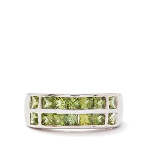 2.46cts Songea Green Sapphire Sterling Silver Ring