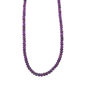Zambian Amethyst Graduated Bead Necklace in Sterling Silver 57cts