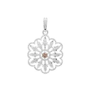 Champagne Diamond Pendant with White Diamond in Sterling Silver 0.36ct