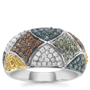 Multi-Colour Diamond Ring Sterling Silver 1ct