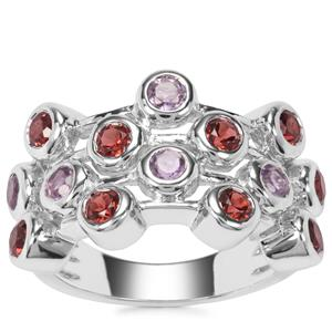 Rajasthan Garnet Ring with Rose De France Amethyst in Sterling Silver 1.92cts