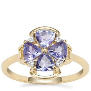 AA Tanzanite Ring with White Zircon in 9K Gold 1.42cts