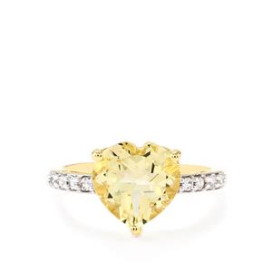 Serenite Ring with White Zircon in 10k Gold 3.04cts